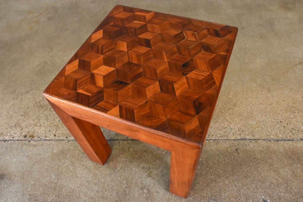Walnut Parsons Side Table with Geometric Top