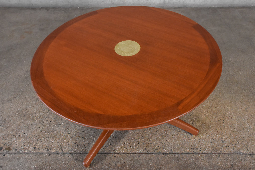 Round Mahogany and Brass Coffee Table