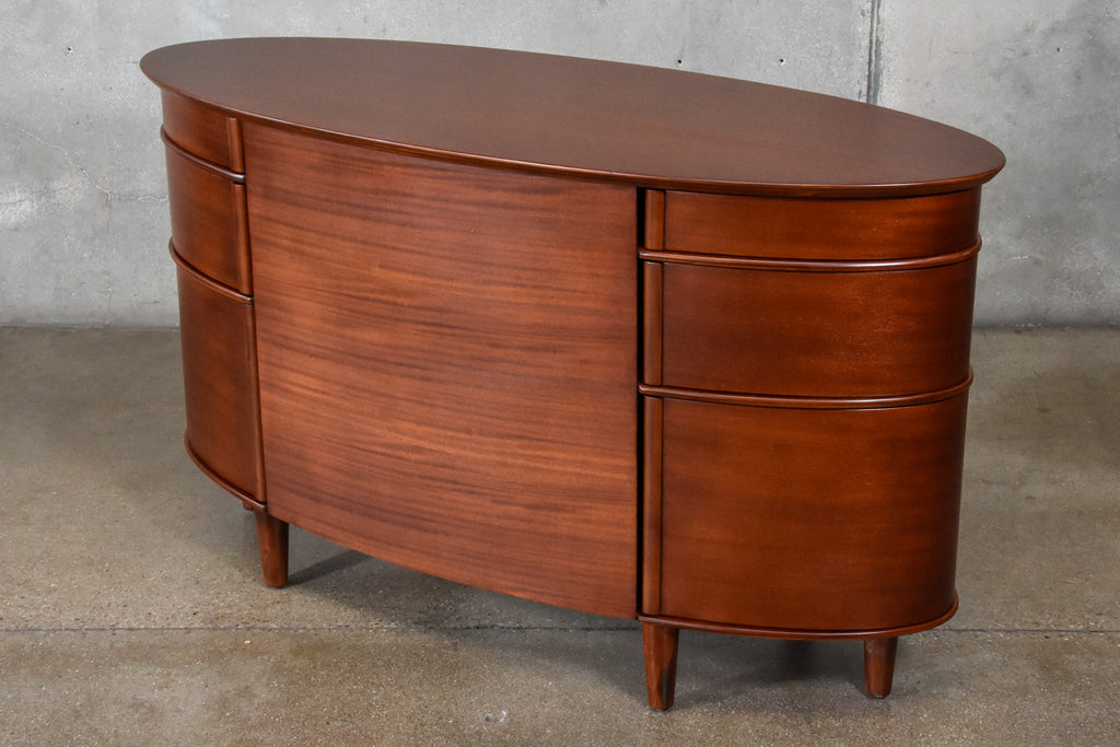 Oval Mahogany Desk with Swiveling Drawers