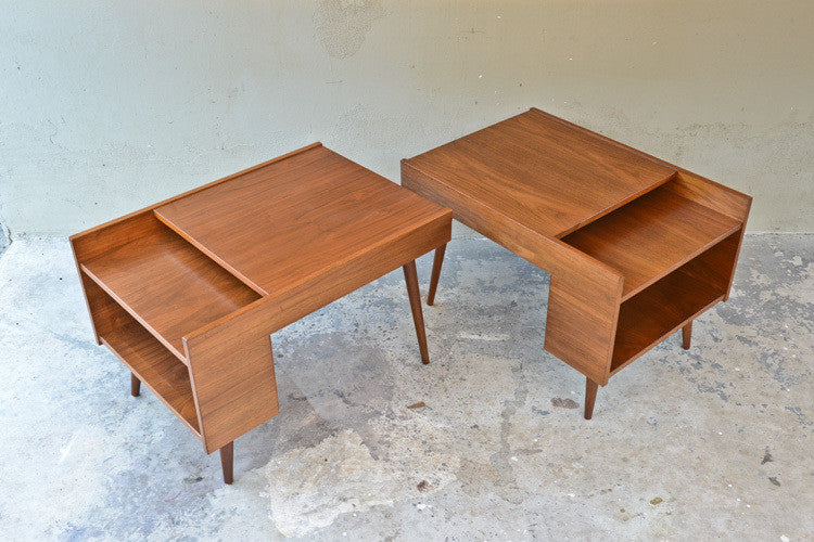 Milo Baughman for Glenn of California Walnut End Tables