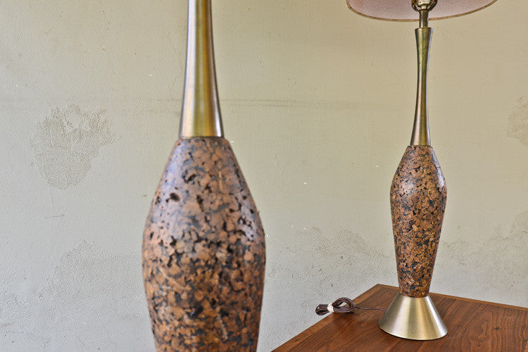 Super Tall Pair of Vintage Cork Table Lamps