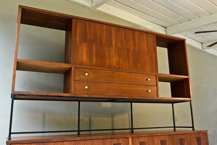 Stunning Large Stanley Walnut and Rosewood Credenza w/ Hutch