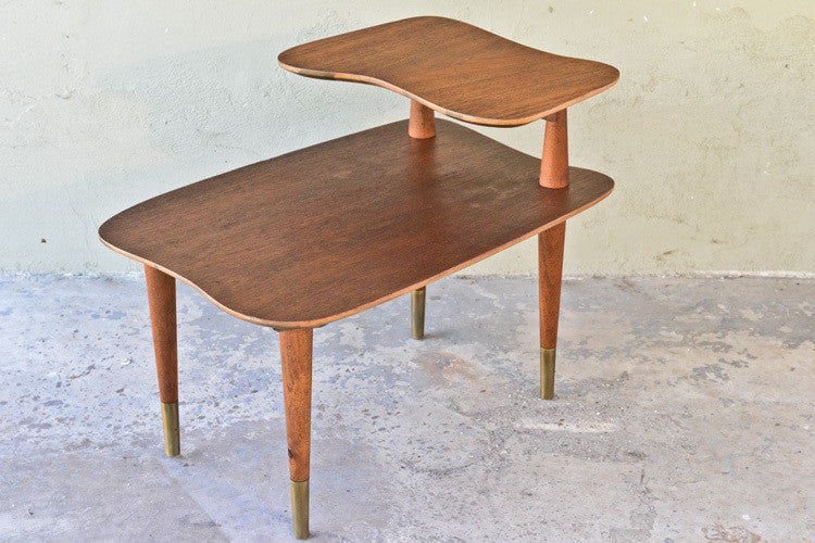 Walnut Amoeba Tiered Side Table by Founders