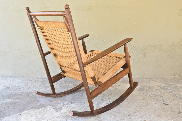 Hans Olsen Style Woven Rocking Chair