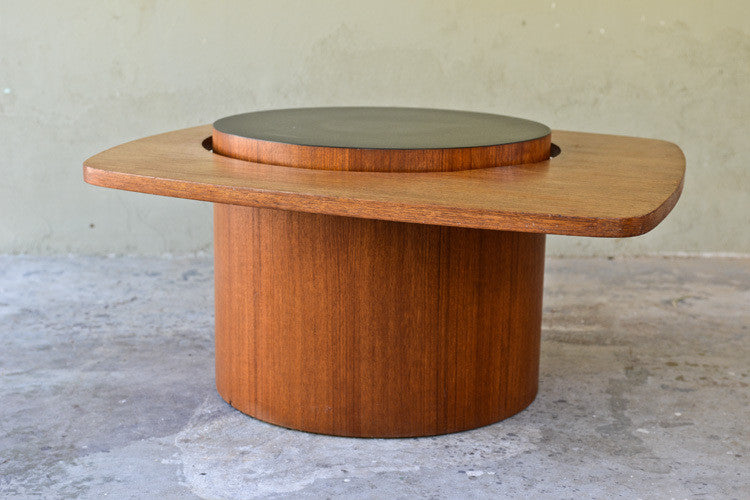 Awesome Asymmetric Floating Teak Coffee Table