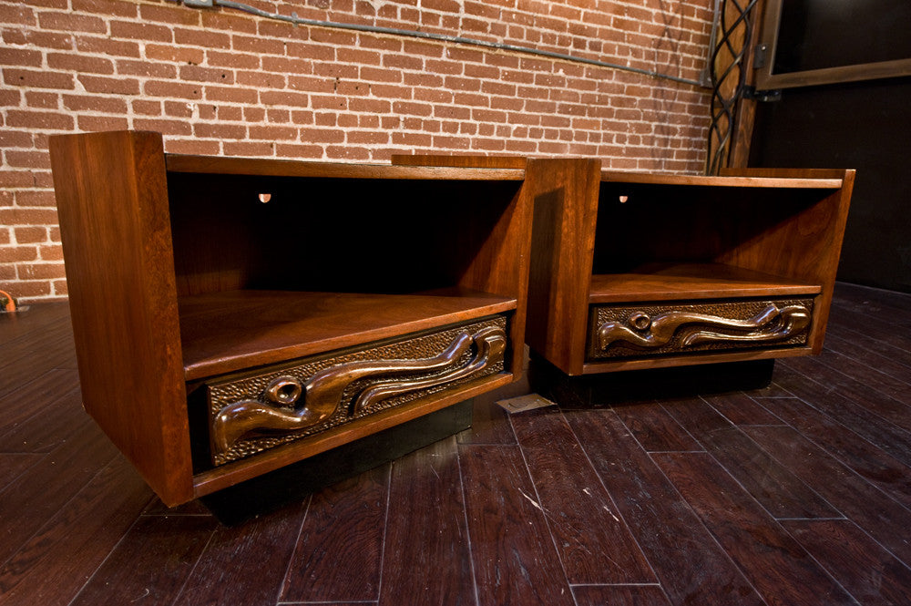 Witco Style Oceanic Tiki Dresser and Night Stands