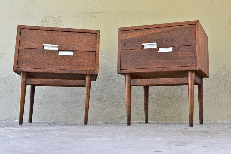 Pair of American of Martinsville Walnut Nightstands