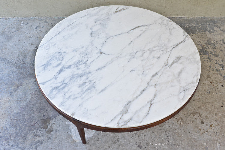 IncredibleRound Carrara Marble and Walnut Coffee Table