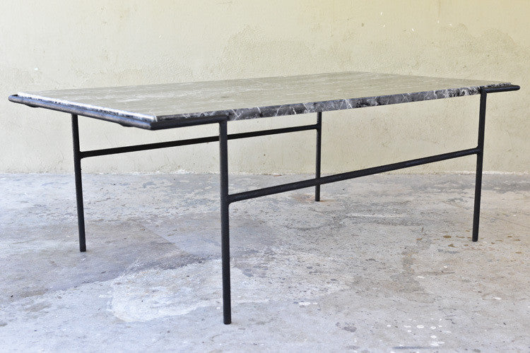 Modernist Iron and Black Marble Coffee Table