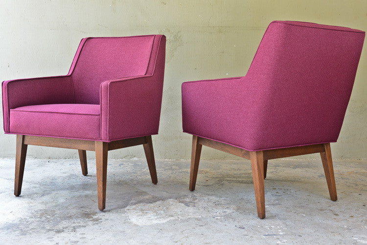 Pair of Purple Jens Risom Style Club Chairs