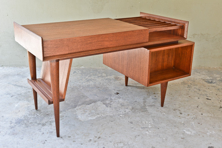 Amazing Mahogany Floating Desk by Sherman Bertram