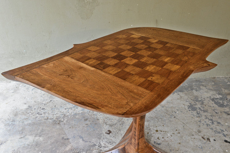 Spectacular Organic Sculptural Walnut Game Table