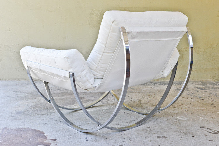 Italian Sculptural Chrome Lounge Chairs by Stendig