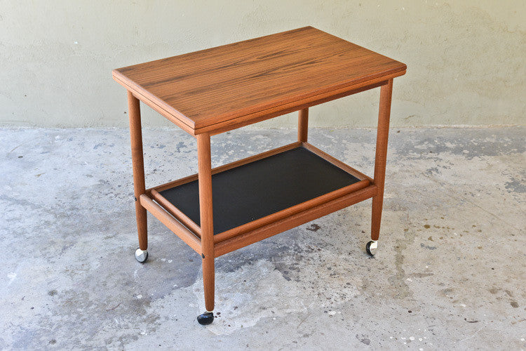 Danish Teak Flip Top Serving Cart