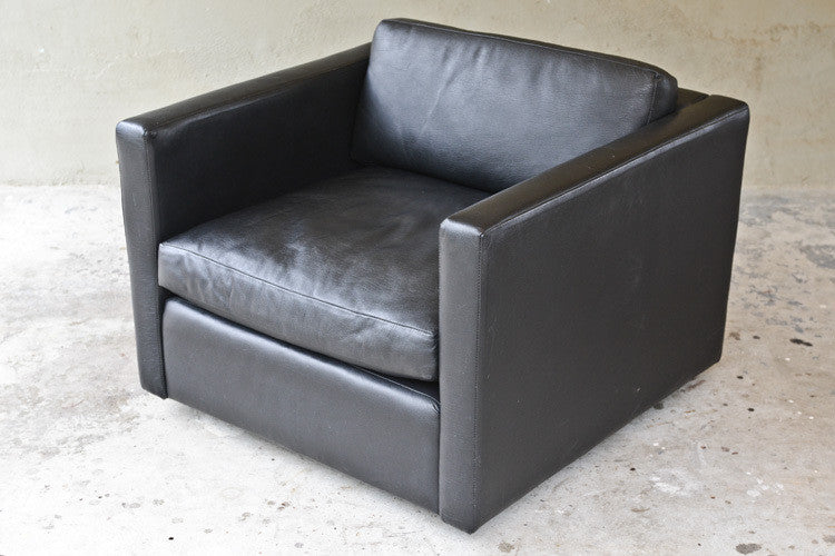 ... Charles Pfister For Knoll Black Leather Lounge Chair ...