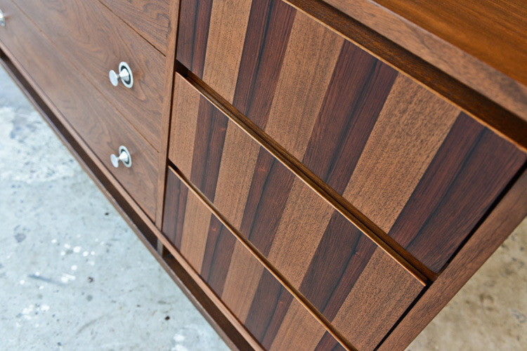 Stanley Walnut and Rosewood Nine Drawer Dresser