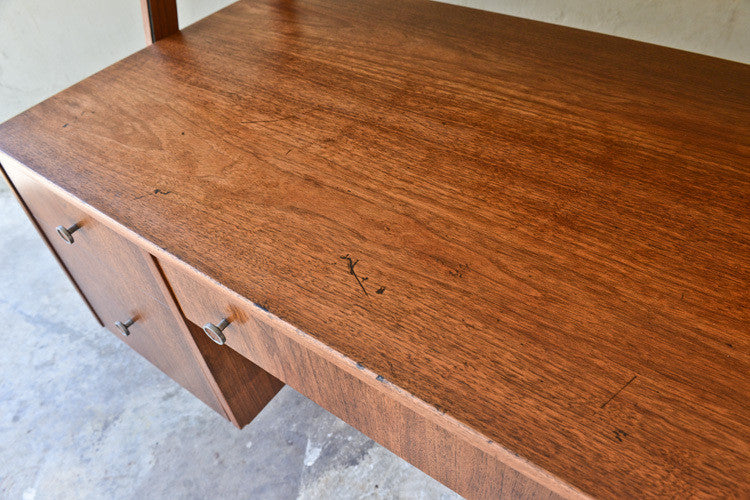 Mid Century Walnut Desk with Floating Tambour Upper Cabinet