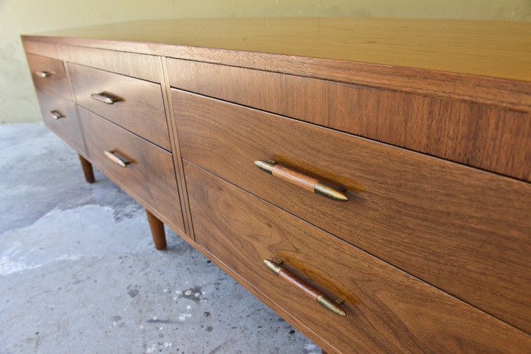 Long Low Walnut Credenza by Kalpe