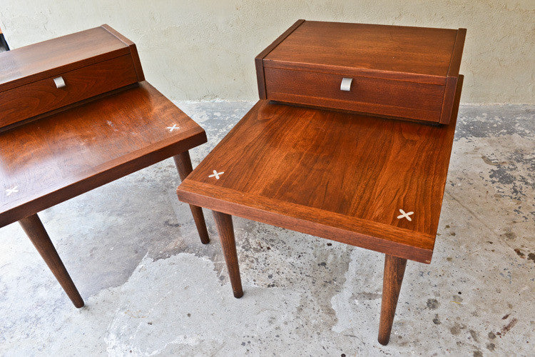 Pair of American of Martinsville Walnut Side Tables