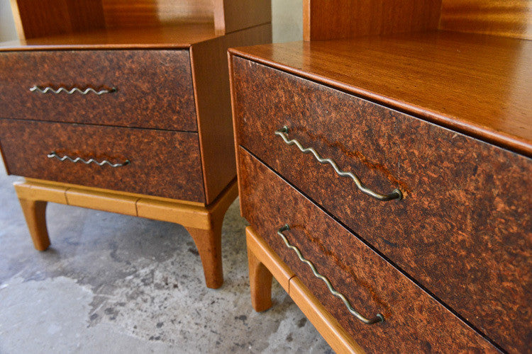 Pair of John Keal Bleached Mahogany Night Stands