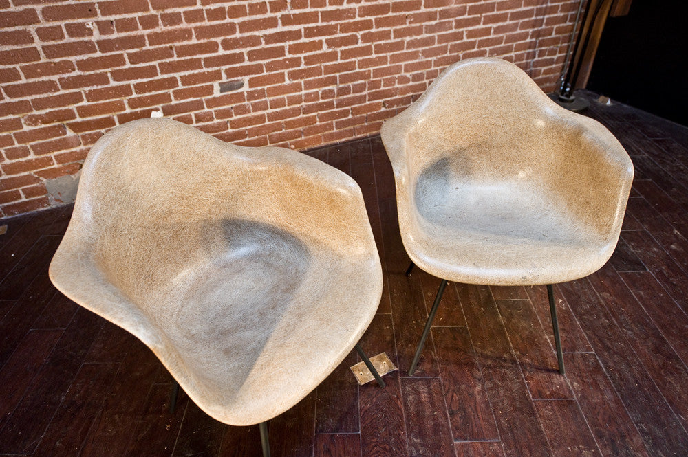 Pair of Early Herman Miller Fiberglass Arm Chairs