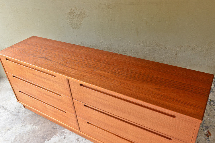 Danish Teak Six Drawer Dresser by Torring