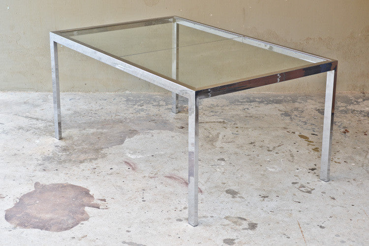 Milo Baughman Chrome and Glass Dining Table