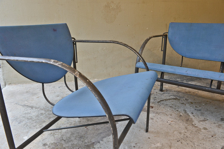 Stendig Steel and Leather Loveseat and Chair Set