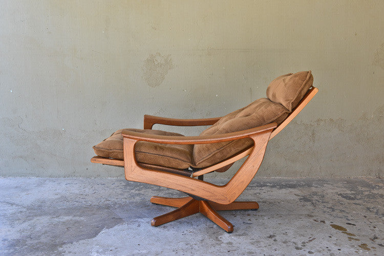 Sculpted Teak Recliner and Ottoman by Lied Mobler