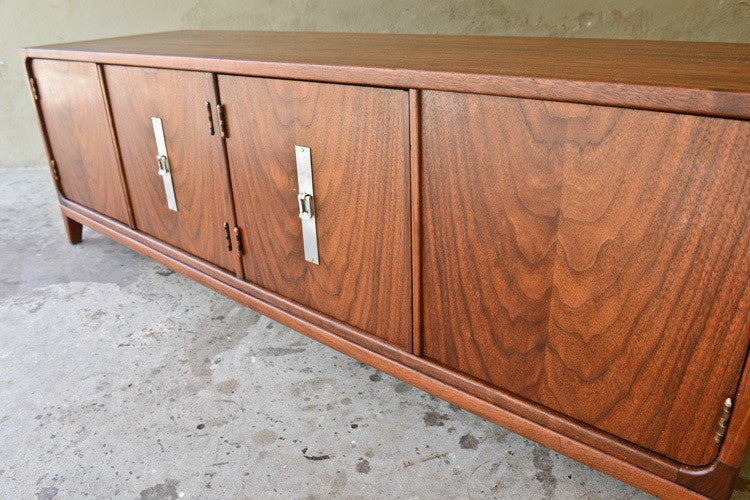 Long Low Brown Saltman Walnut Credenza