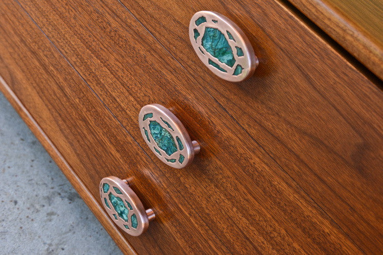 Spectacular Walnut Coffee Table with Malachite / Copper Hardware