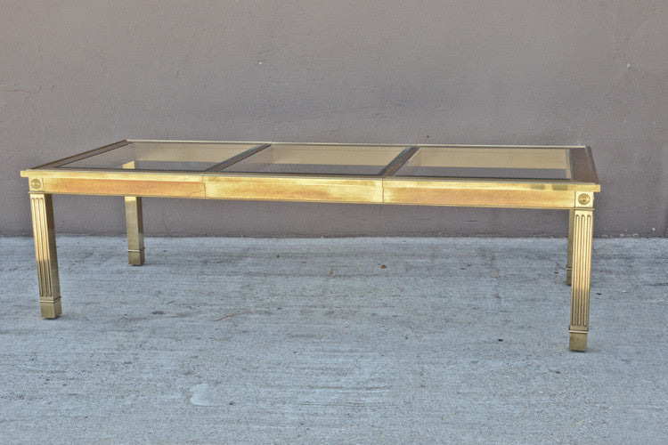 Massive Mastercraft Brass and Glass Dining Table