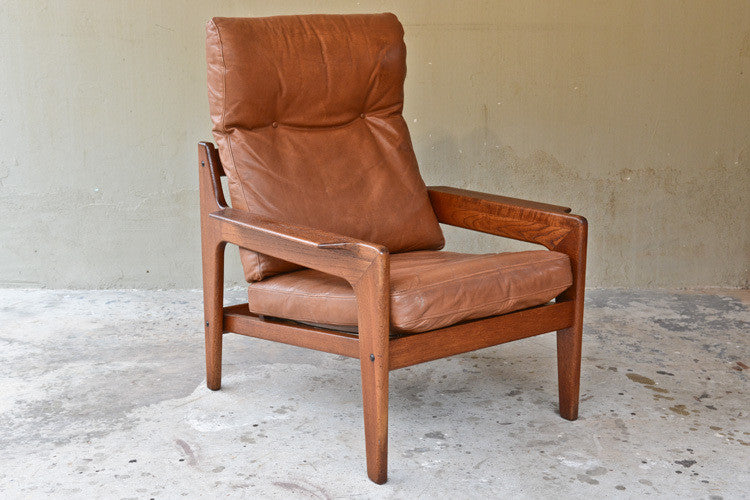 Danish Teak and Leather Lounge Chair by Arne Iversen for Komfort