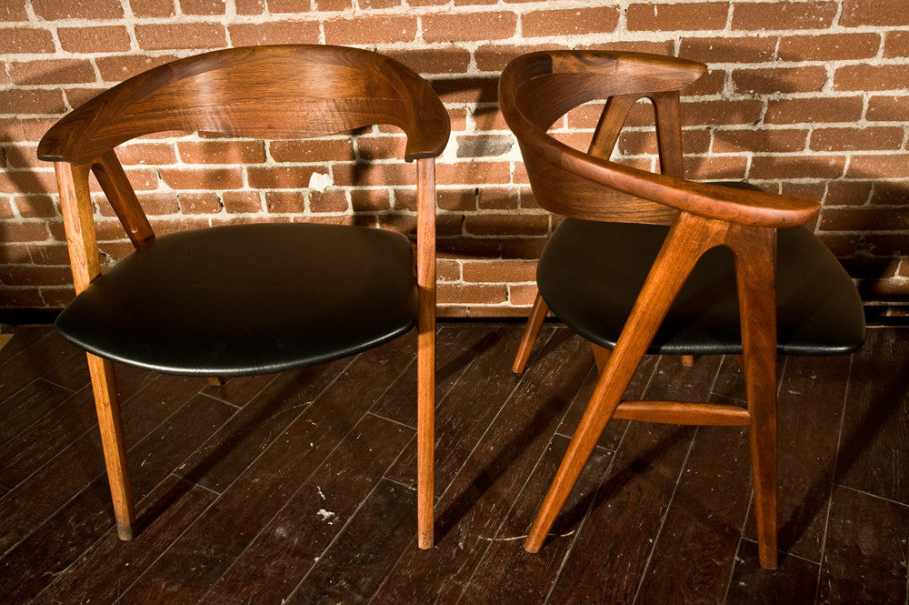 Pair of Eric Kirkegaard Compass Chairs in Teak