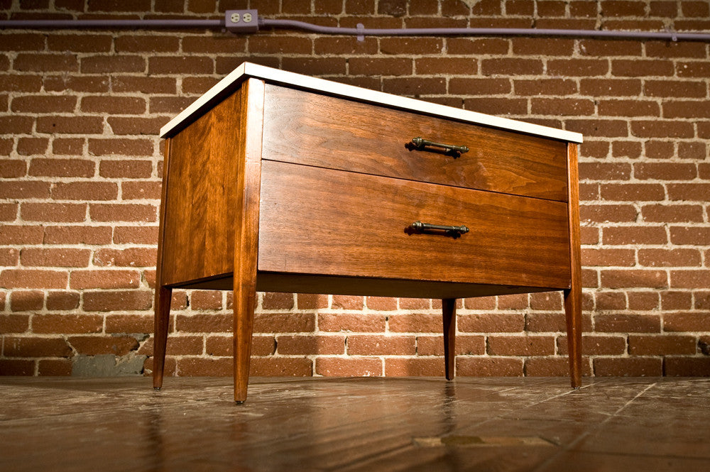 Vista of California Mid Century Two Drawer Walnut Cabinet