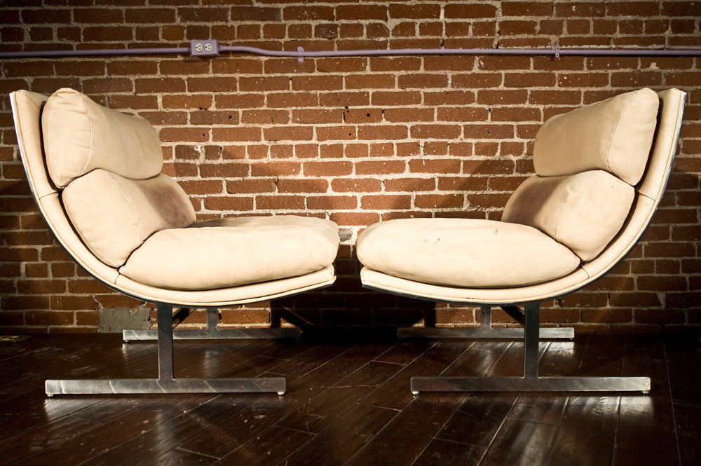 Pair of Kipp Stewart for Directional Chrome 'Arc' Chairs