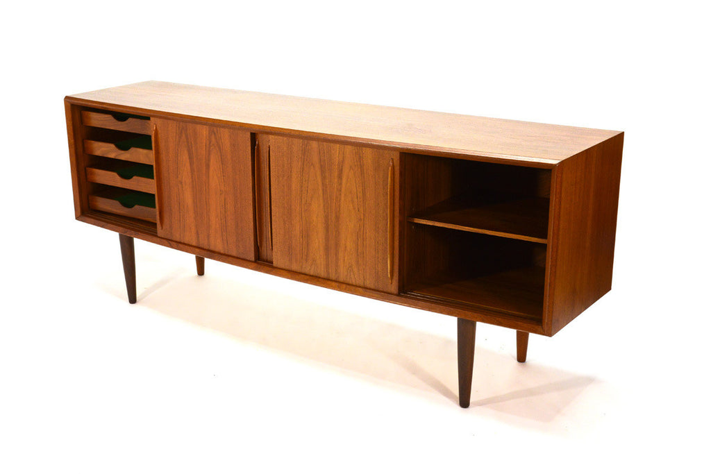 Bow Front Teak Credenza by Arne Vodder for H.P. Hansen
