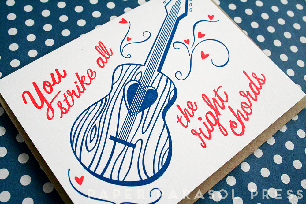 You Strike All The Right Chords Music Love Card Paper Pastries