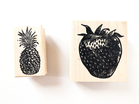 🍓🍍 Strawberry and Pineapple Fruit Rubber Stamps by 100 Proof Press