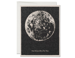 BLACK BACKGROUND ILLUSTRATION OF MOON TEXT READS I'M ALWAYS HERE FOR YOU