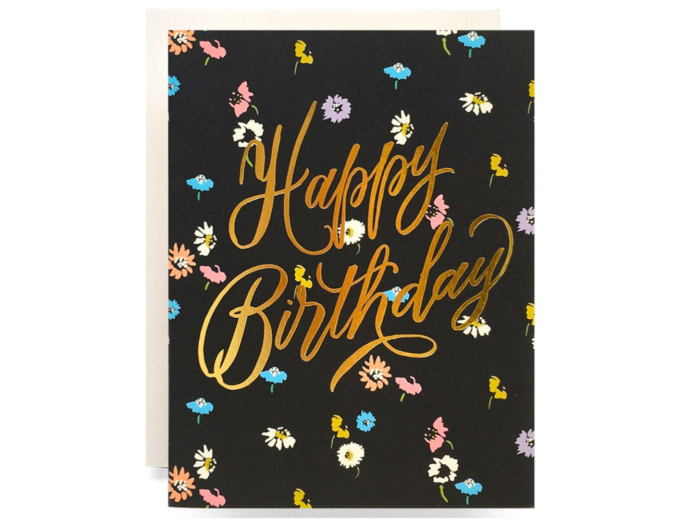 black background, tiny flower pattern text reads happy birthday in gold foil