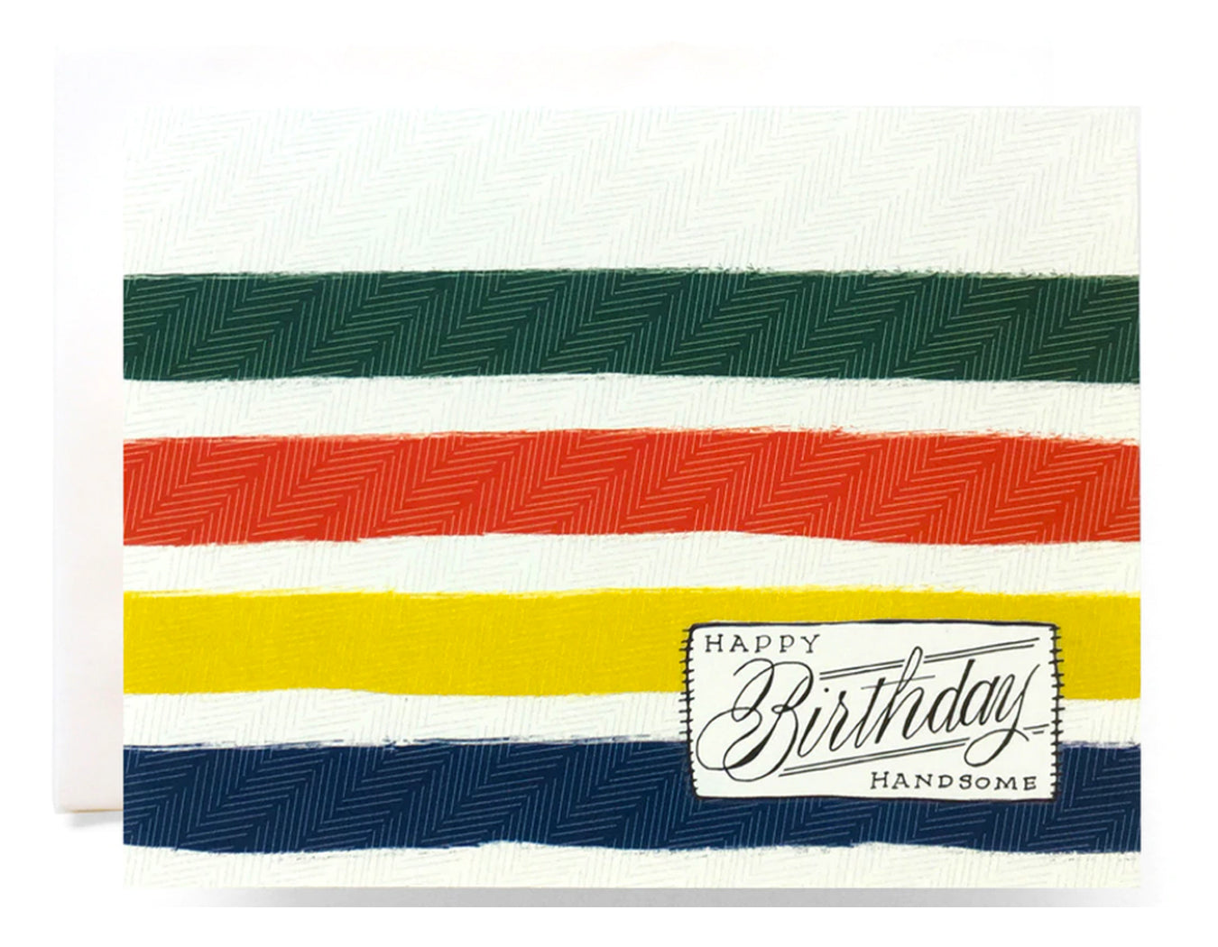 text reads happy birthday handsome design looks like pendleton camp blanket