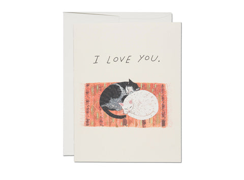 Cat Cuddle I Love You Card