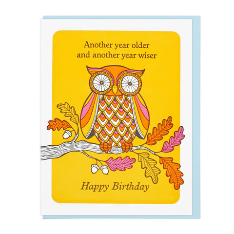 OLDER AND WISER OWL BIRTHDAY Letterpress Card