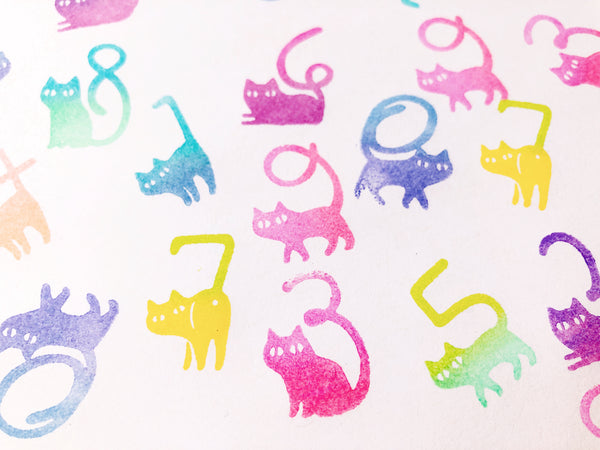 Cat Number Rubber Stamp Set