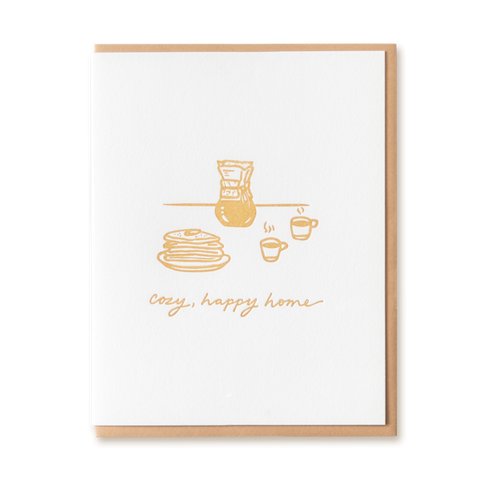 Cozy Happy Home letterpress card