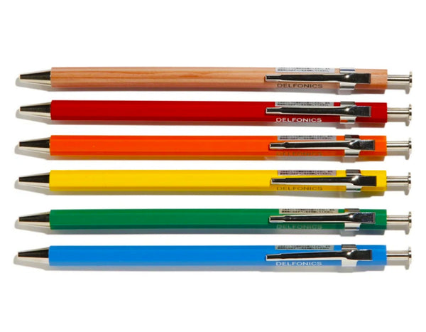 delfonics pens come in a wide variety of barrel colors, all the pens write in black ink.