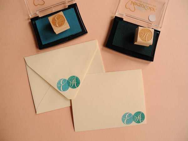Paper Pastries Initial Rubber Stamp and Stationery