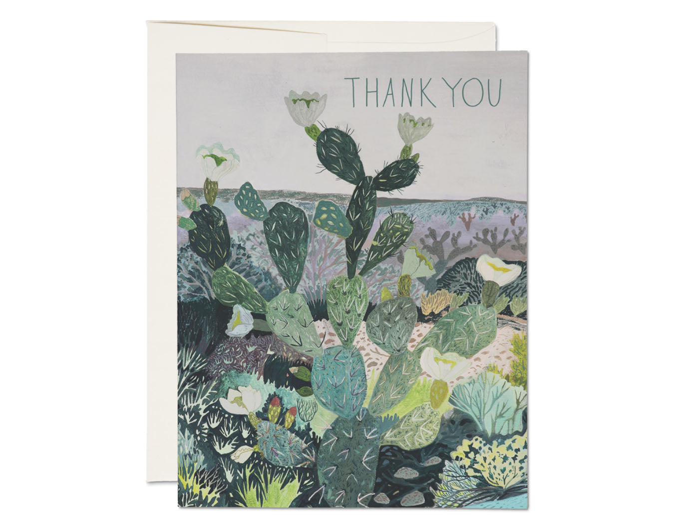 greeting card with cactus landscape text reads thank you