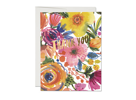 Romantic Watercolor Roses Thank You Card Set of 8